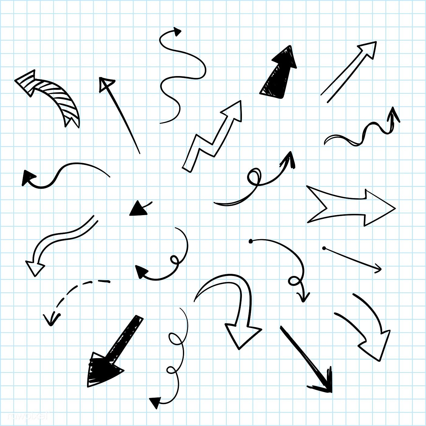 Handdrawn doodle arrows vector set free image by