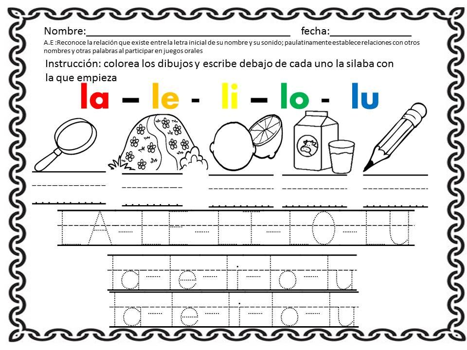 Ejercicios sobre la letra l alfabetizaci n pinterest for L practicas