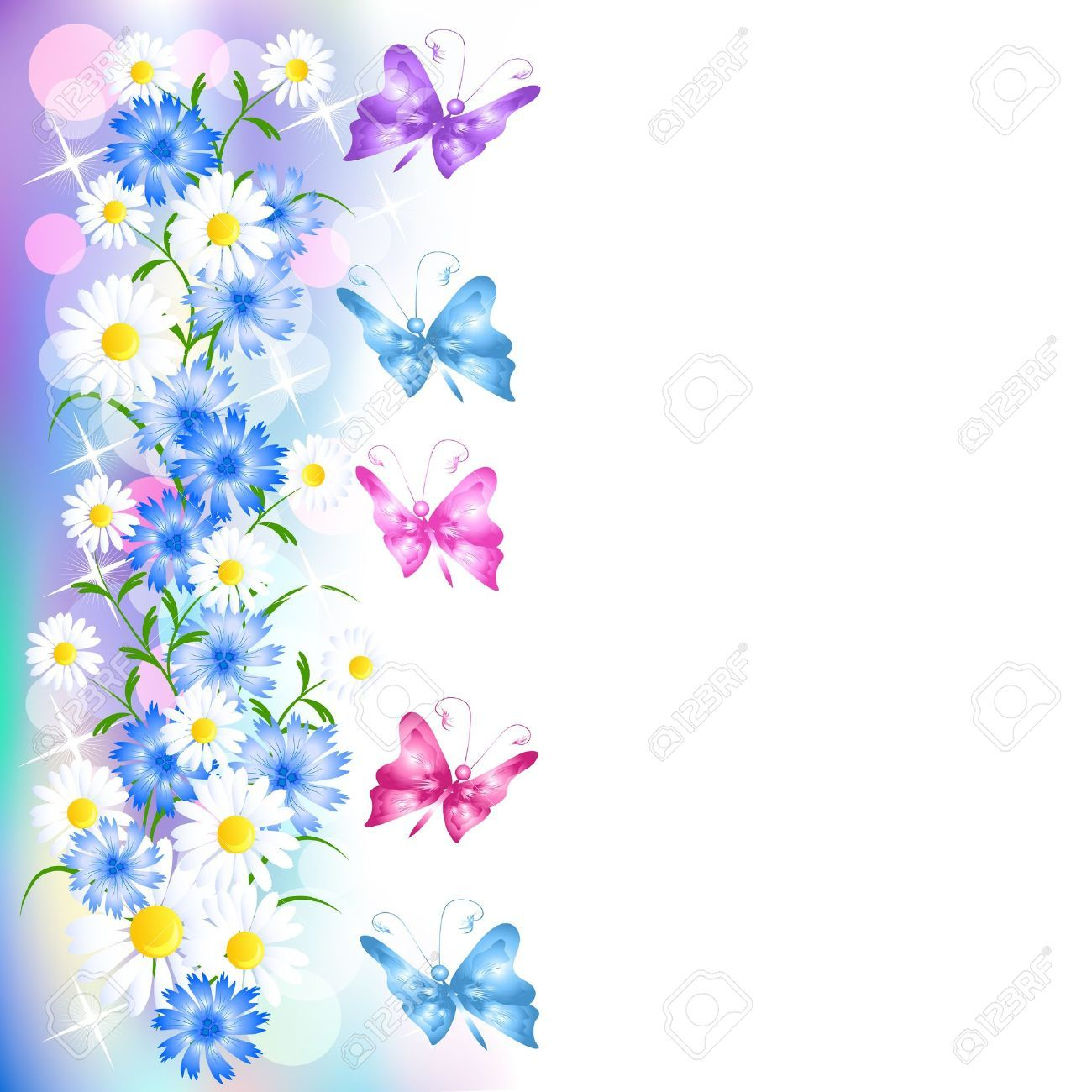 Flower and butterfly border clip art - photo#53