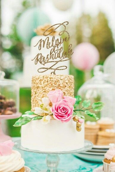 Glitter cake topper and gorgeous three tiered cake