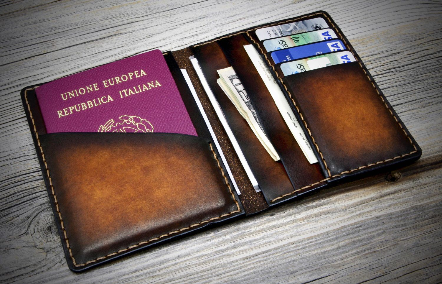 Passport Cover Leather Travel Wallet