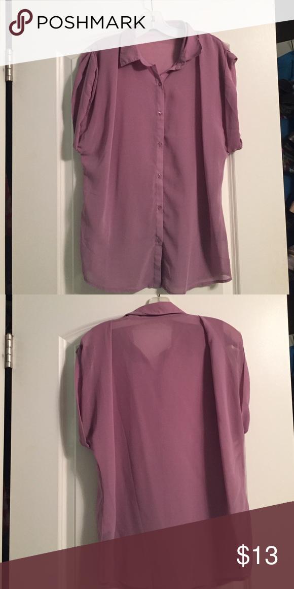 Lavender Semi Sheer Blouse Shirt Style Lavender And Tee Shirt