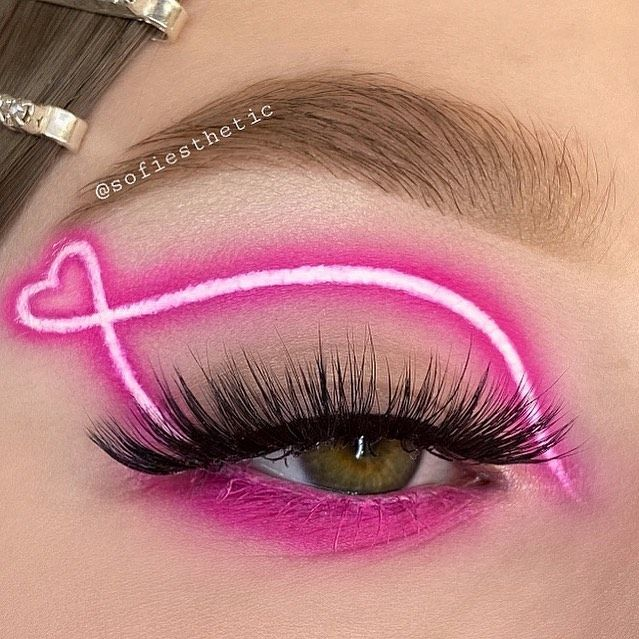 Photo of Bright Neon Pink Creative Eye Look | Gorgeous Lashes
