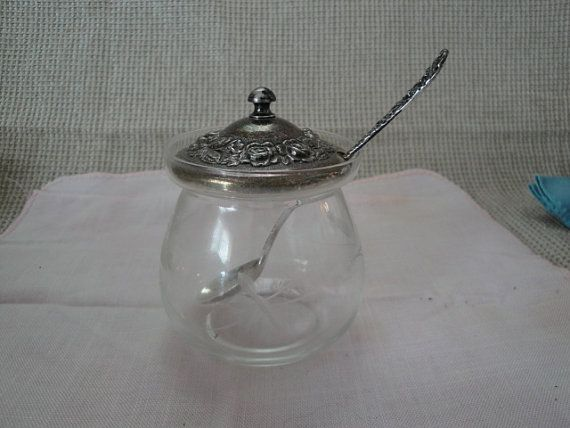 Stieff Sterling Rose & Etched Glass Jam Jar With Stieff Sterling Rose Spoon