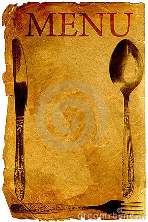 Old style vintage menu with spoon, fork and knife | Wedding Invite ...
