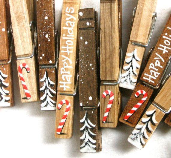 10 Natale molletta dipinta canne di caramella di di SugarAndPaint
