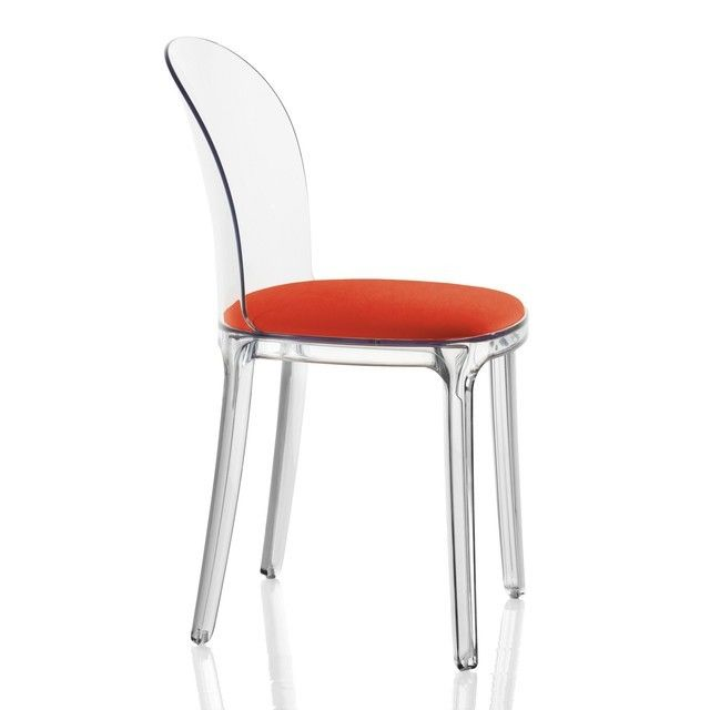 Lovely Magis   Vanity Chair Transparent   Transparent/fabric Kvadrat Field Red/with  Felt Gliders