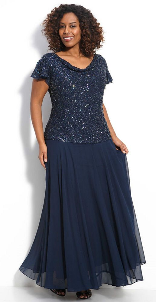 New J KARA Cowl Neck Beaded Mock 2 pc Chiffon Gown Dress Navy Blue ...
