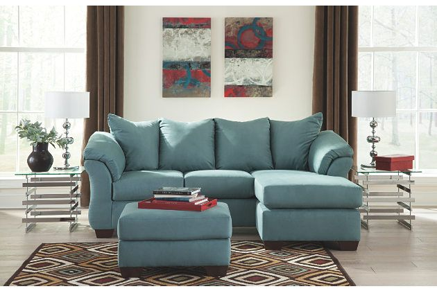 blue contemporary chaise lounge with matching ottoman