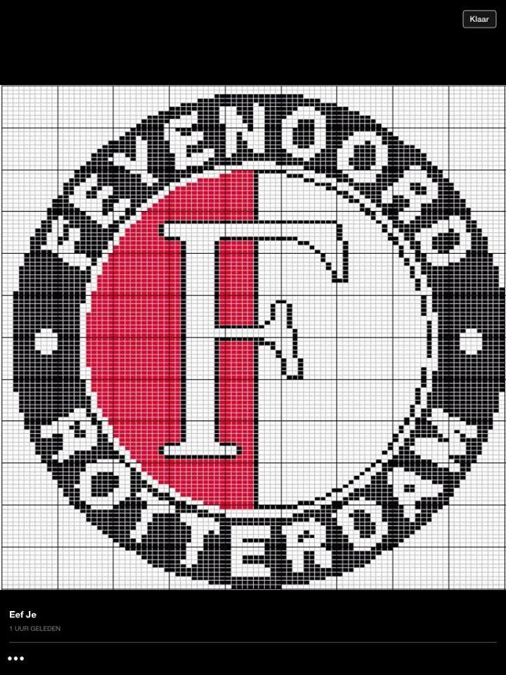 Te Gebruiken Om Een Pixel Deken Te Haken Feyenoord Haken Pinterest