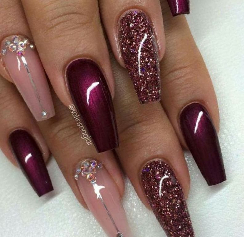 Image Result For Acrylicnailssquoval Burgundy Acrylic Nails Burgundy Nails Maroon Nails