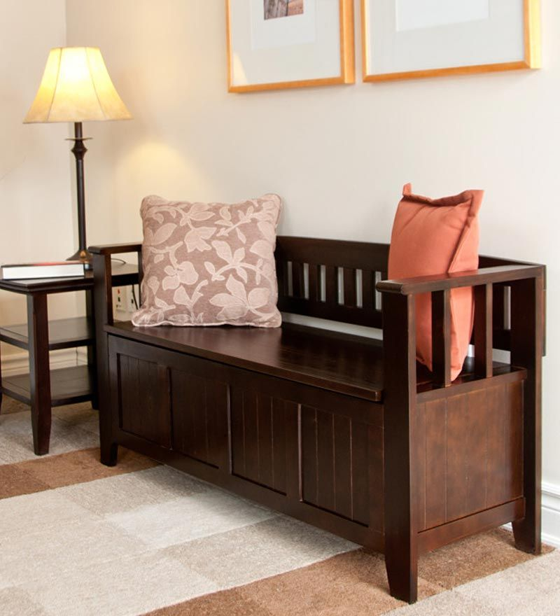 I love this for my breezeway! Plantation-Grown Pine Acadian Entryway Bench In Espresso Finish