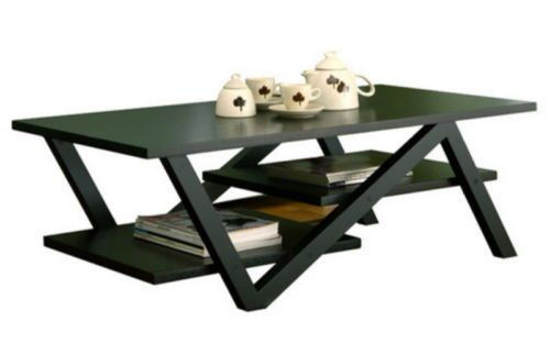 Stylish Coffee Table With 2 Elevated Shelves Living Room Furniture Black Finish