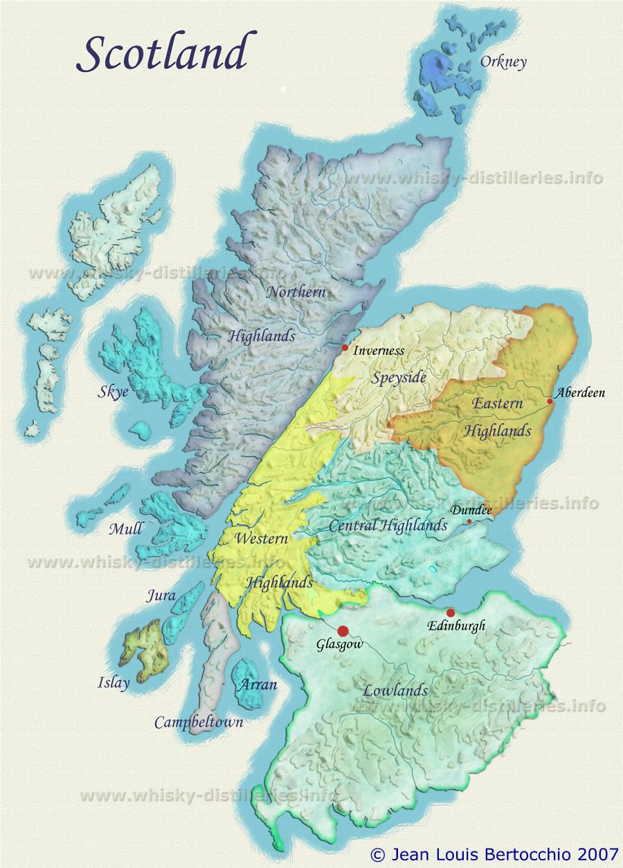 Map of Scotch Whisky Distilleries and Regions, Scotland | Maps