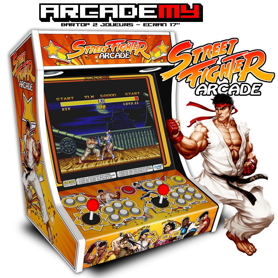 Vue 3D du Bartop 2 joueurs (theme street fighter