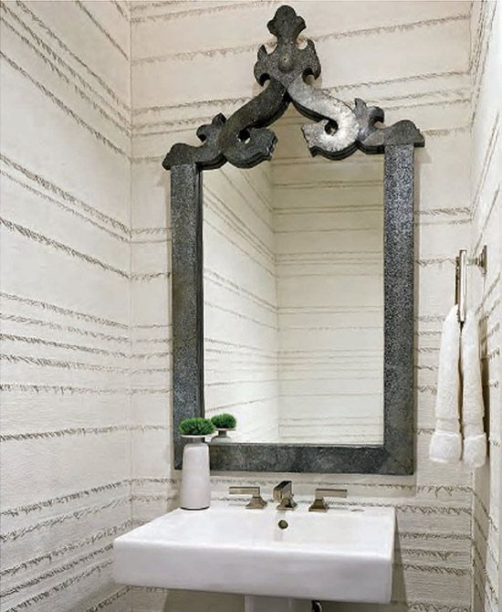 Created Texture On The Powder Room Walls With A Technique Involving Fringed Burlap And Clay Plaster Del Piero Designed Dramatic Zinc Framed Mirror
