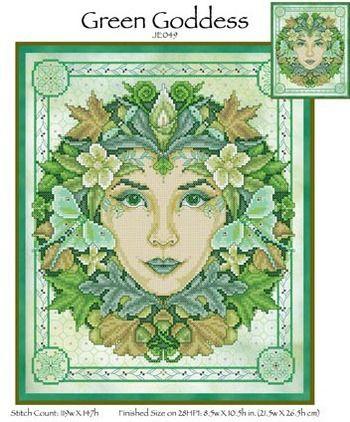 Cathedral Woods Goddess Cross stitch chart PDF digital pattern