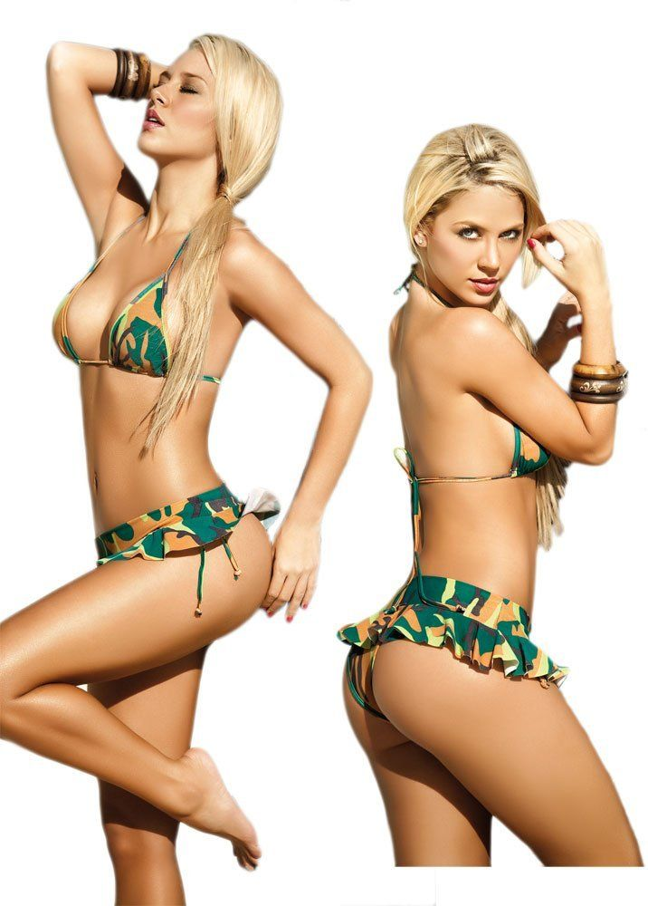 200382ab97 Sexy Camo Two Piece Swimsuit - Hot Triangle Top and Brazilian Bottoms