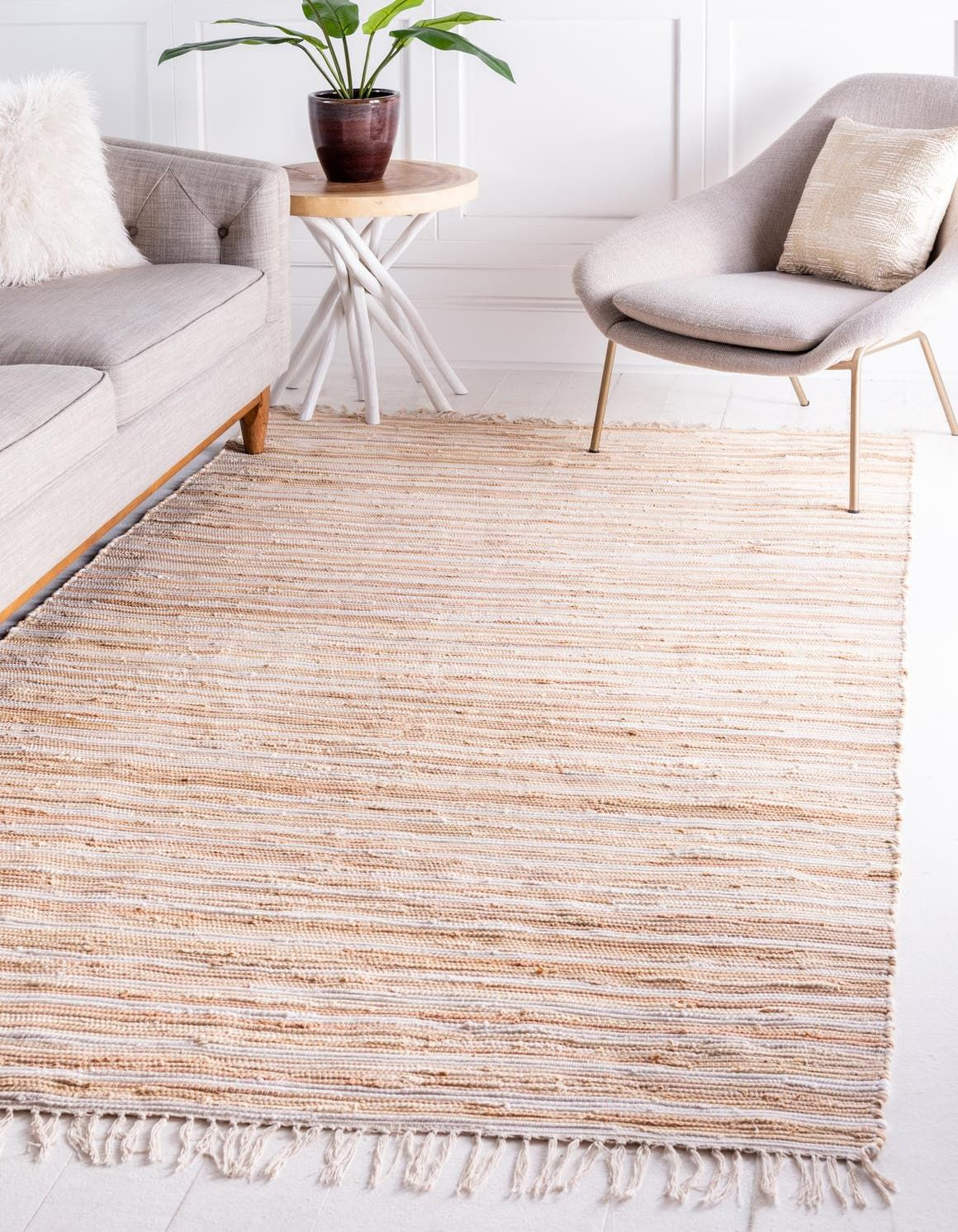 Beige 8 X 10 Chindi Cotton Rug Rugs Com Rugs In Living Room Beige Area Rugs Area Rugs Beige rug living room