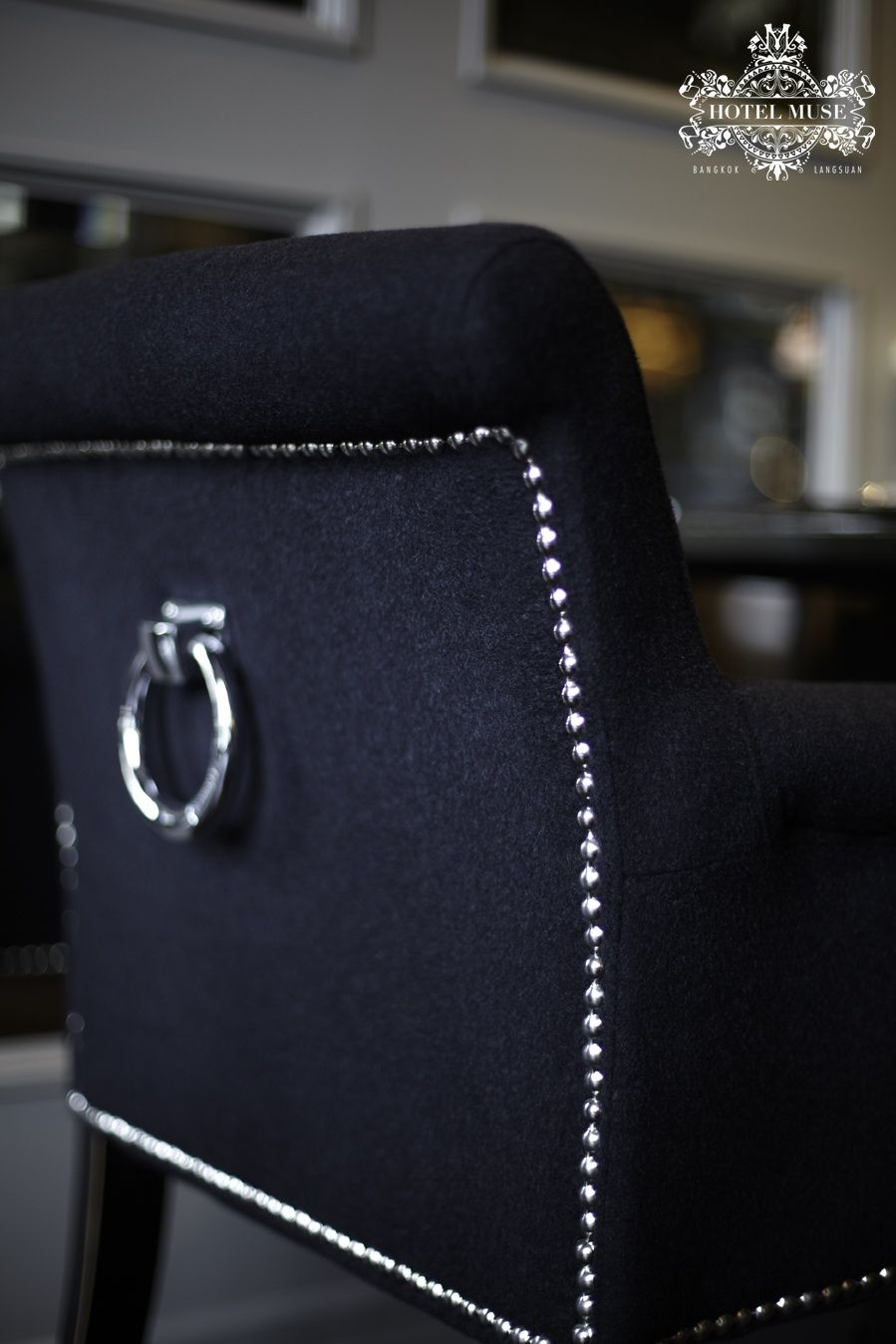 The black #velvet #armchair decorated with silver #door knocker are awaiting our dearly guest at Su Tha Ros.