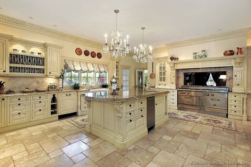 Traditional Antique White Kitchen Welcome! This Photo Gallery Has Pictures  Of Kitchens Featuring Cream Or Antique White Kitchen Cabinets In  Traditional ...