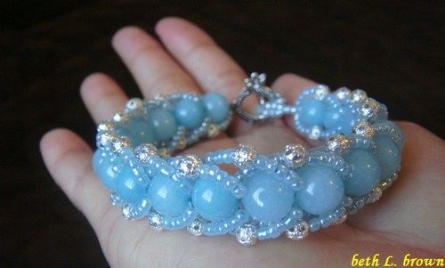 Brazilian Aquamarine Gemstone Woven Bracelet and Sterling Silver round