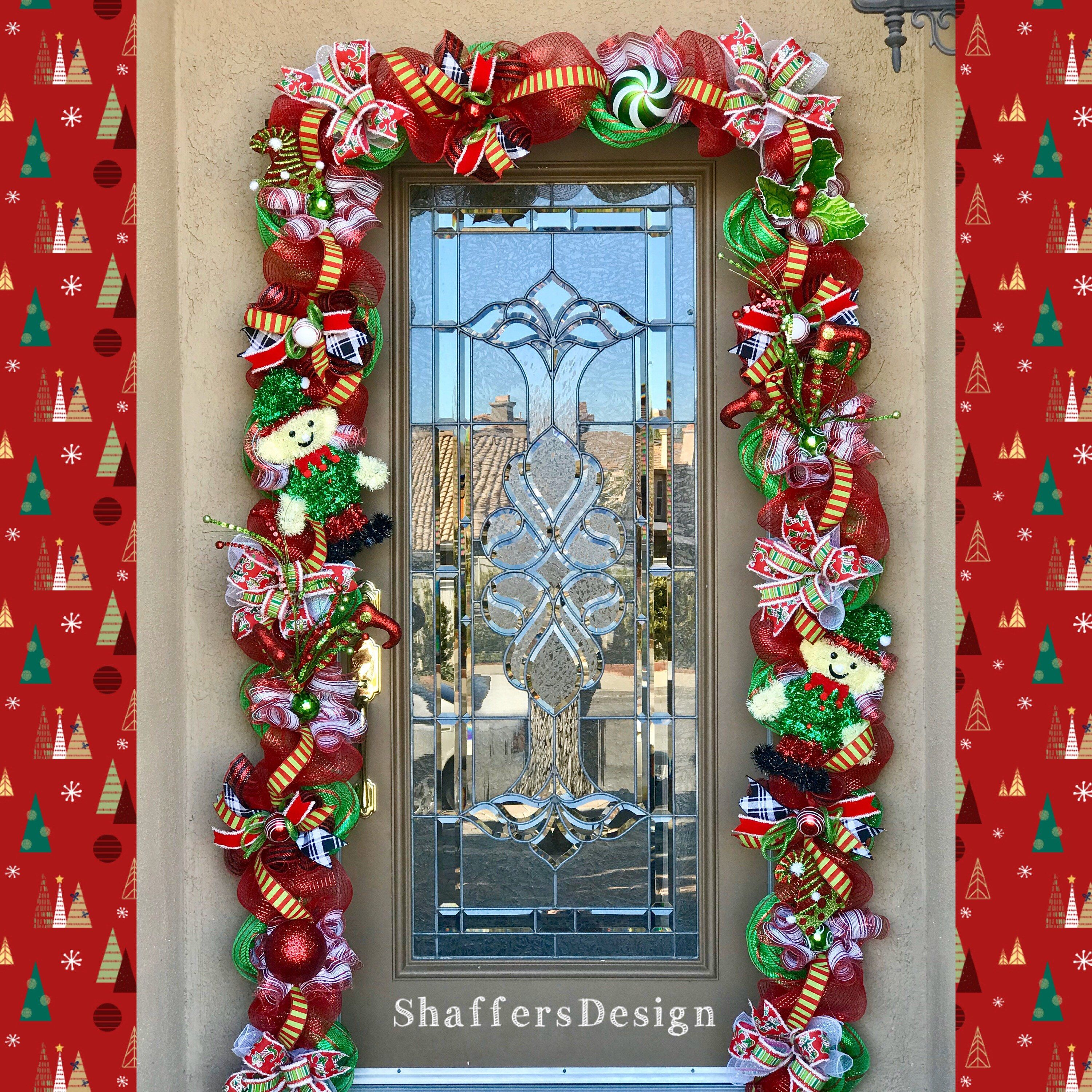 Outdoor Christmas Garland With Lights Red And Green Christmas Door Decor Christmas Front Door Garland With Lights With Images Outdoor Christmas Garland Christmas Lights Garland Christmas Door Decorations