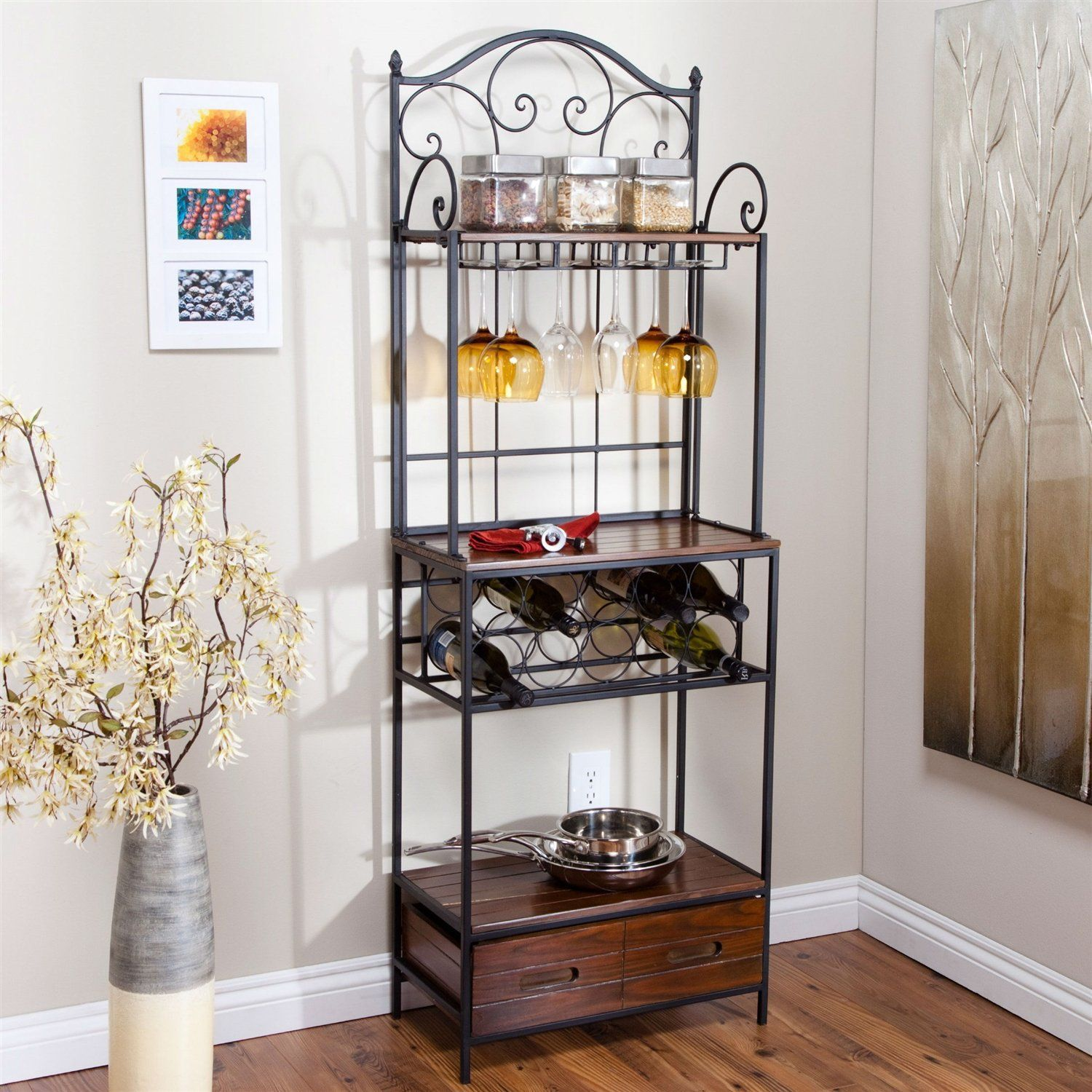 Sturdy Metal Wood Bakers Rack With Wine Glass Bottle Storage