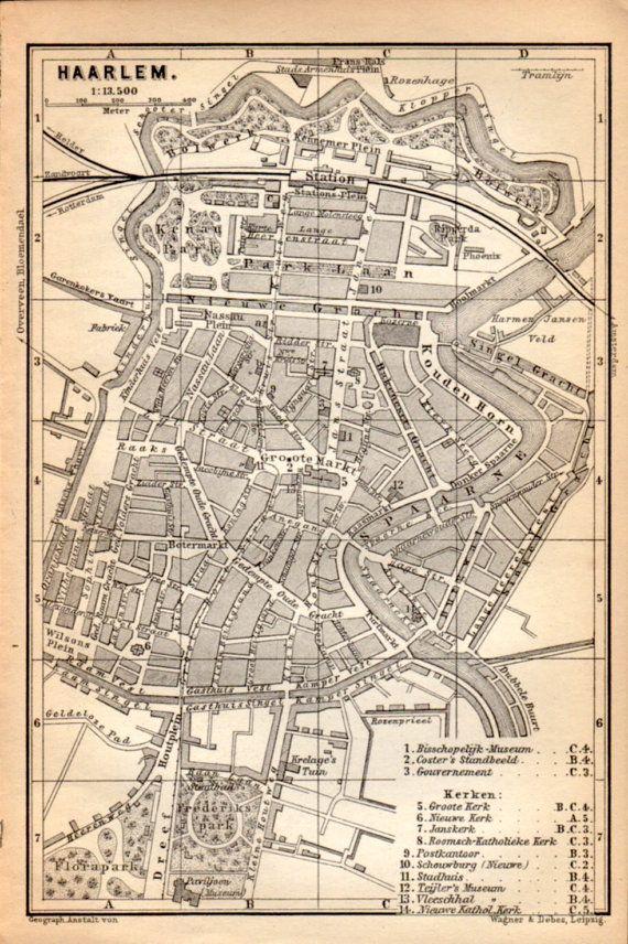 1897 Haarlem Netherlands Antique Map Vintage Lithograph Etsy Antique Map Antique Maps Vintage Haarlem