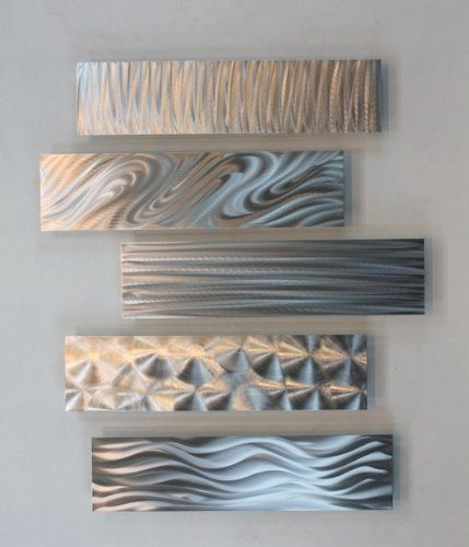 Silver Rectangular Metal Wall Accent Multi Panel Etched Moderne Wandkunst Abstrakt Metallkunst
