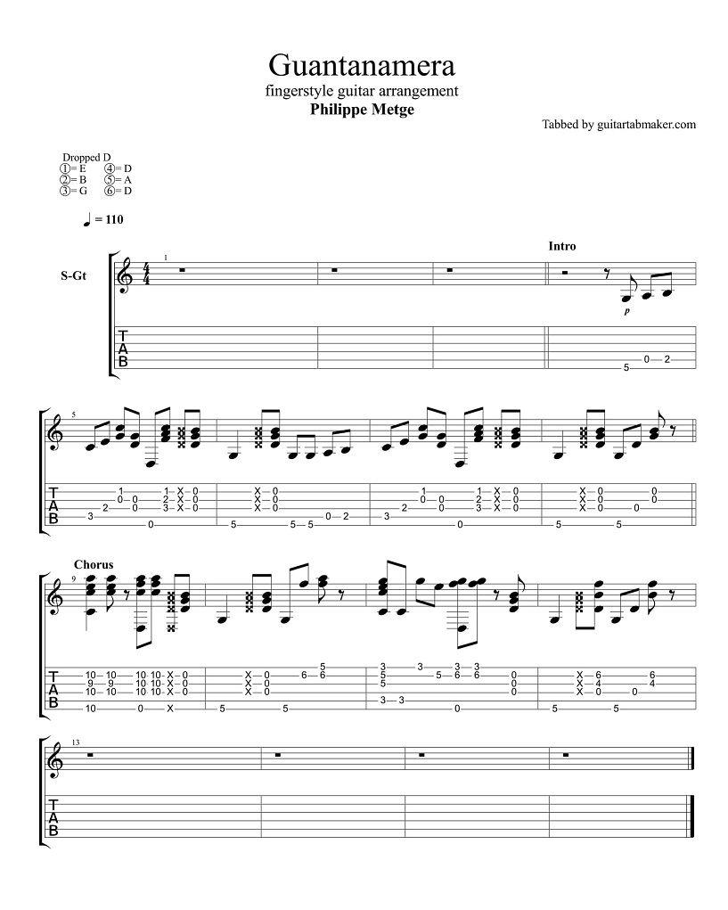 Guantanamera Fingerstyle Guitar Tab Pdf Guitar Sheet Music