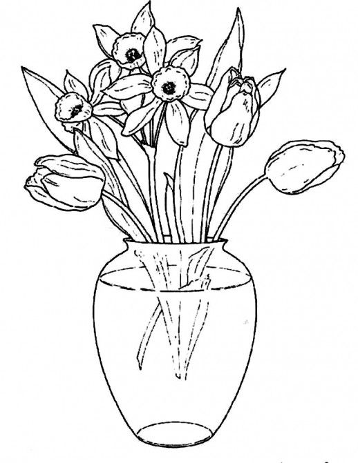 Line Drawing Flower Vase : Flowers in a clear glass vase coloring pages