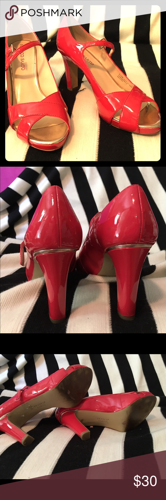 Sassy Coral colored patented leather heels. Beautiful shoes from Franco Sarto in the seasons hot color, summer coral. Like new, slight wear on bottoms (see photo). Franco Sarto Shoes Heels