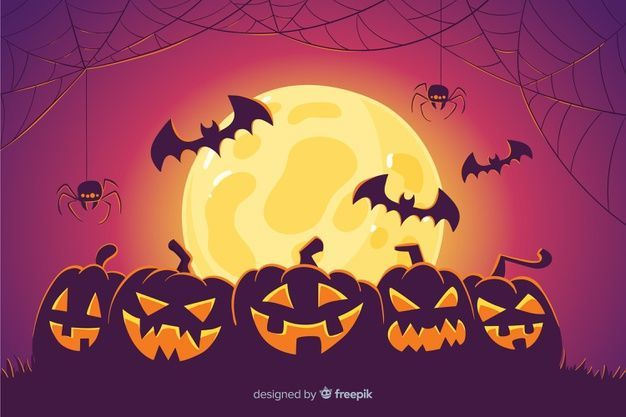 Pumpkins and bats halloween background Vector | Free Download,  #Background #bats #Download #... #halloweenbackgroundswallpapers