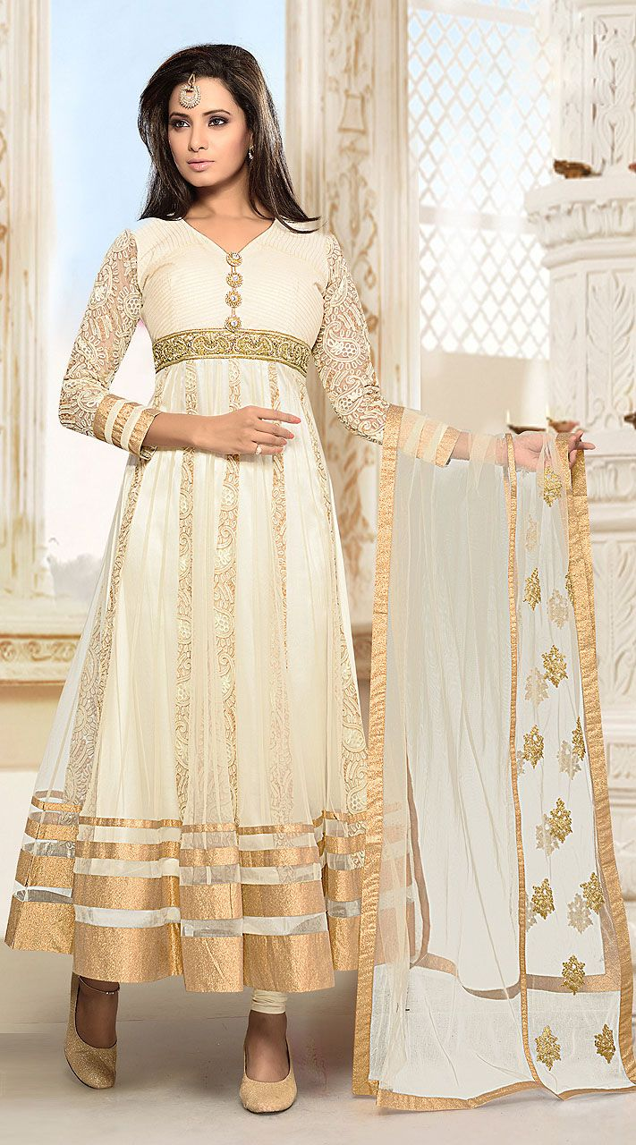 Amazing Sleeves Embroidered Off White Anarkali Suit With Golden Border