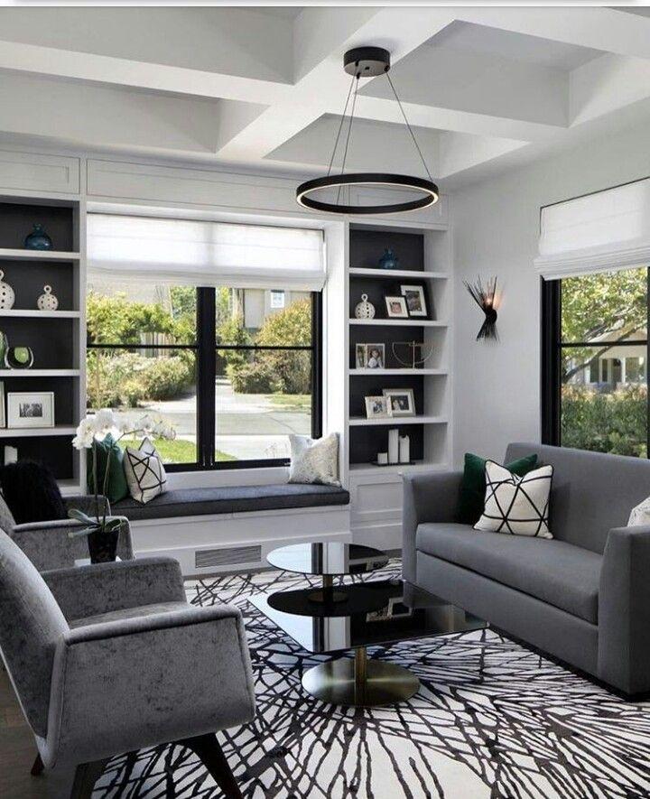 30 Black White Living Rooms That Work Their Monochrome Magic: Pin De Elaine Aparecida Mello Em Casa