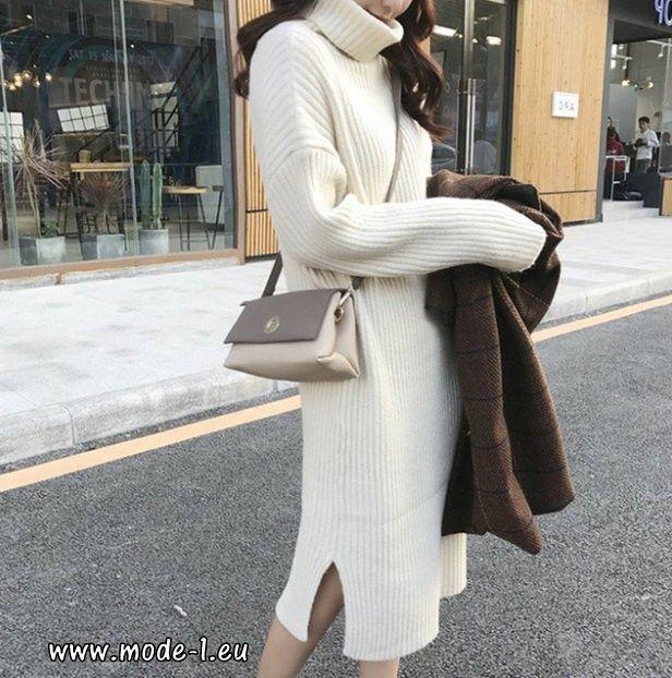 Herbst Winter Kleid Strickkleid Rollkragen Pullover Lang ...
