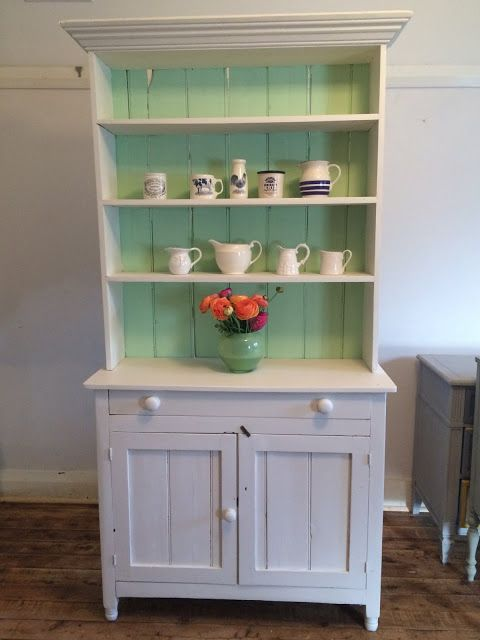 Vintage Hutch Green And White