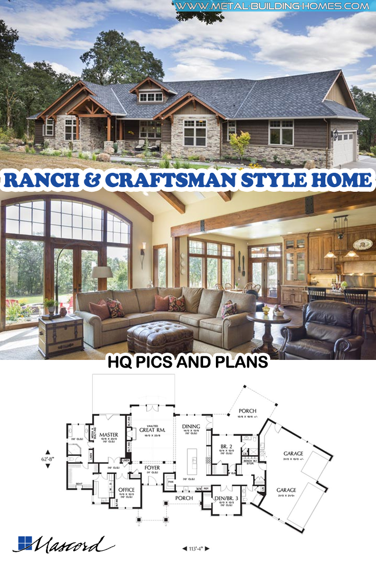 Jaw Dropping Mix Of Ranch Craftsman Style Home Craftsman Style Homes Craftsman House Plans Craftsman Style Home
