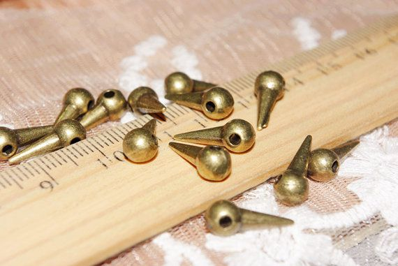 spikes-geometry findings-antique bronze-20 pcs-Brass material-F553