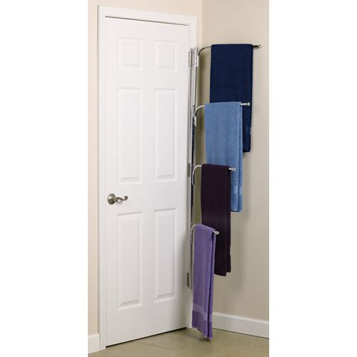 Hinge It Clutter Buster Door Towel Rack   Chrome Image Maybe An Idea For  Hanging