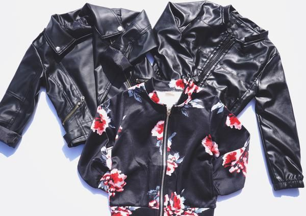 5f68b9f5bd59 Black Moto Bomber Floral Bomber Scuba Jacket for Boys Girls Kids Children  Toddler Baby Infant Clothing