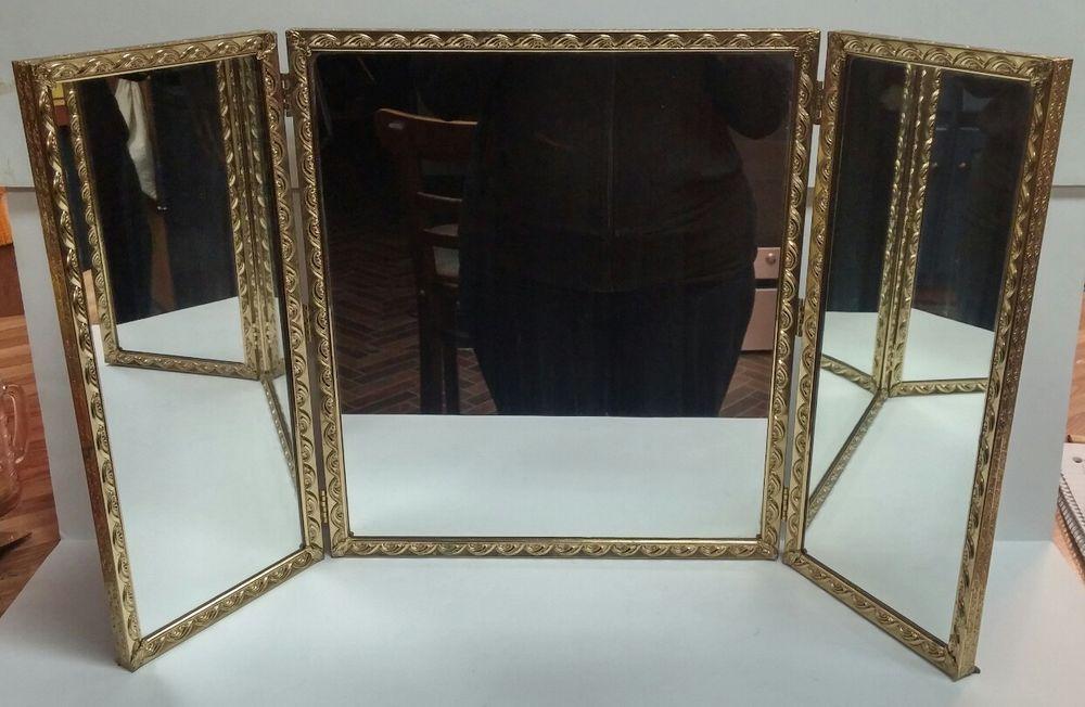 Elegant Antique Brass Tri-fold Standing Gold Frame Vanity Mirror ...