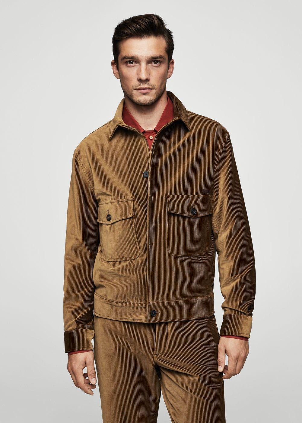 Corduroy organic cotton jacket Men Cotton jacket