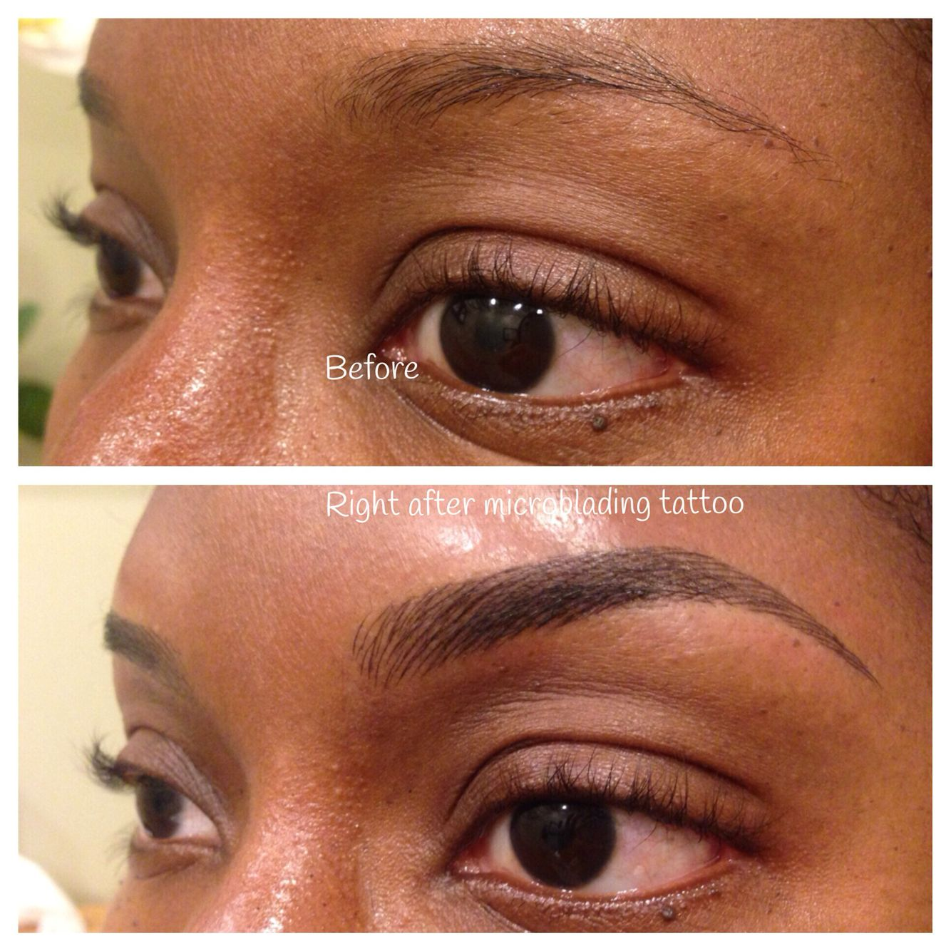before and after microblading which is a manual tattoo