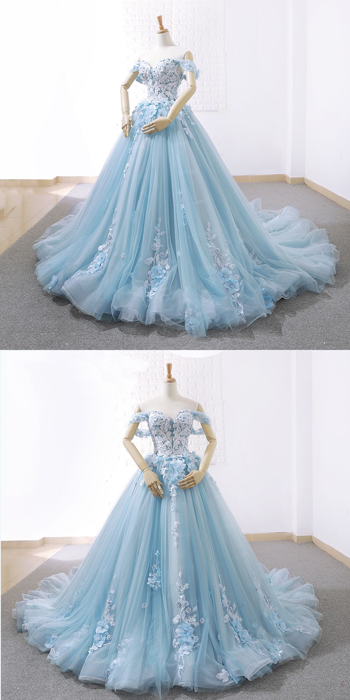 Blue Prom Dress Lace Appliqued Tulle Prom Dress Long Evening Dress Wedding Gown Wedding White Evening Dress Evening Dresses With Sleeves Dresses [ 2400 x 1200 Pixel ]