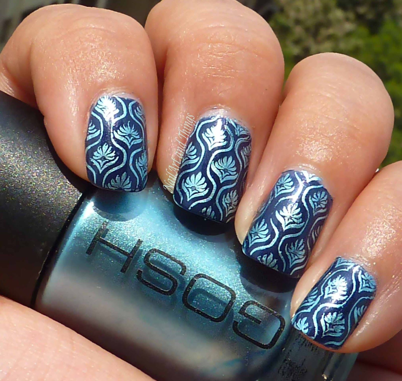 Love The Metallic Blue Over The Navy And The Block Print Nail