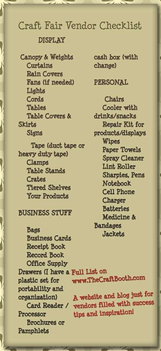 Comprehensive Craft Fair Checklist for Vendors #craftfairs