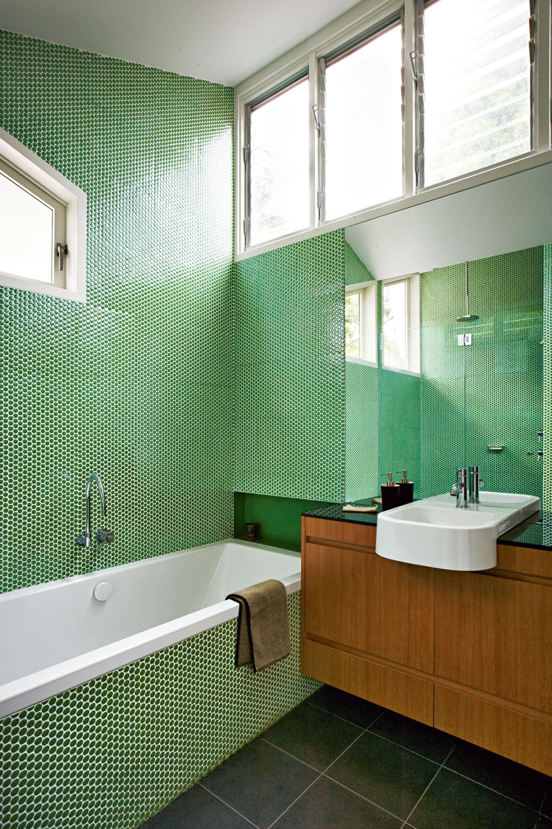 Green penny tile in the bathroom. | Salle de bain | Pinterest ...