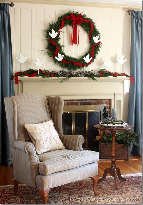 Beautiful Four Calling Birds Themed Christmas Mantel Love The Greenery Via Sweet Pea